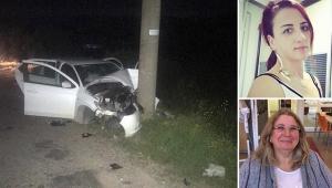 Otomobil elektrik direğine çarptı: 2 ölü, 1 yaralı