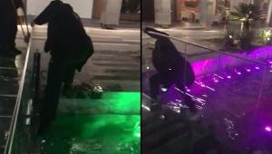 Süs havuzuna düştü, boğulmaktan polis kurtardı