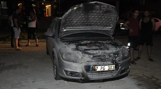 Polis memurunun otomobili kundaklandı