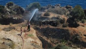 Antalya falezlerde yangın