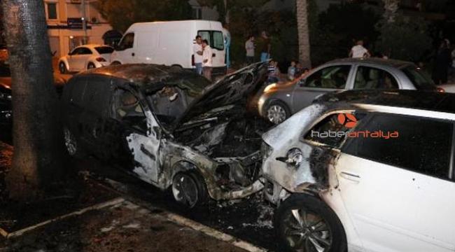 Tatile gelen iki kuzenin park halindeki araçları yandı
