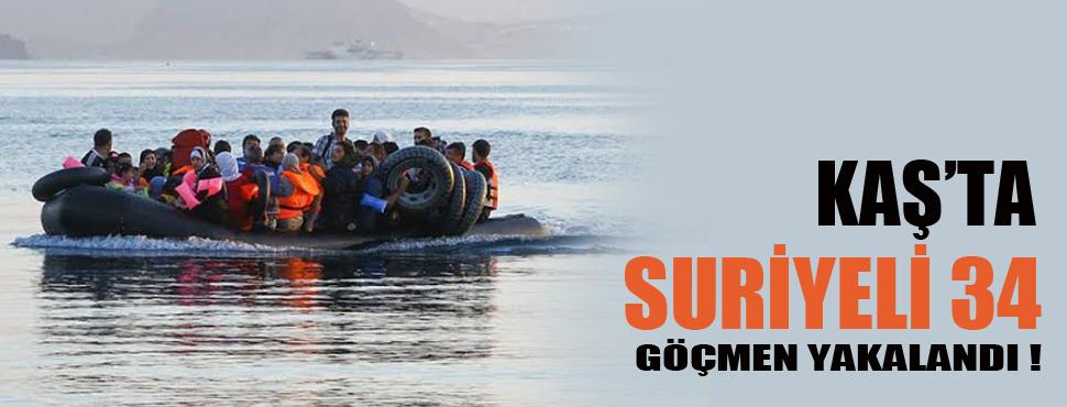 Kaş'ta Suriyeli 34 kaçak göçmen yakalandı