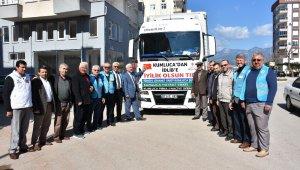 Kumluca'dan İdlib'e yardım götüren tır yola çıktı