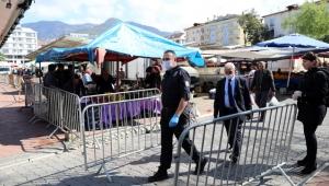 Alanya pazarlarında Korona önlemi