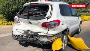Engelli sürücü ve ailesi kırmızı ışıkta ölümden döndü