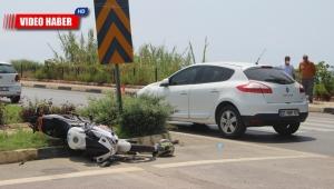 Otomobille motosiklet çarpıştı: 1 ağır yaralı