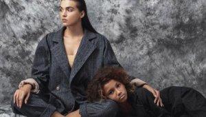 Anne ve çocuk konulu moda çekimi