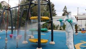 Park ve mesire alanları dezenfekte ediliyor