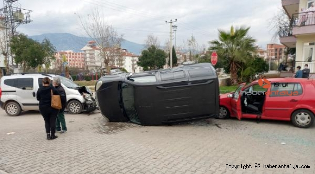 Zincirleme kazada anne-oğul yaralandı