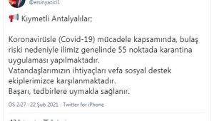 Antalya'da 55 noktada karantina kararı !