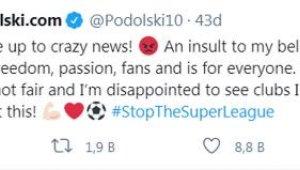 Lukas Podolski'den Avrupa Süper Ligi'ne tepki !