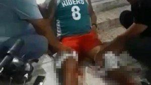 Bacaklarından vuruldu, yerde oturarak ambulansı bekledi !