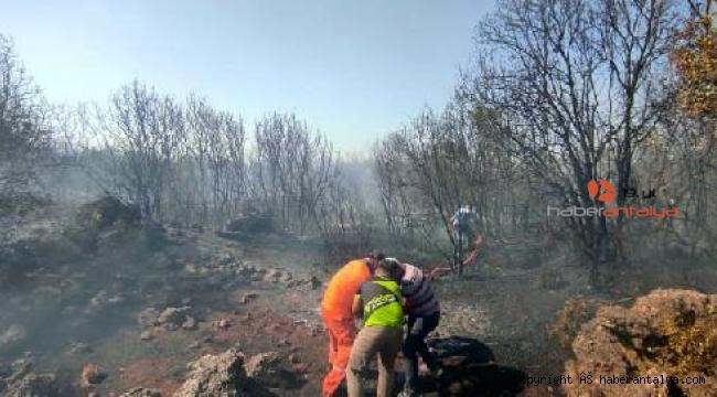 Döşemealtı'da çalılık alanda korkutan yangın !