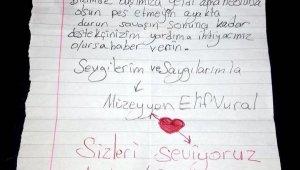 Yangın bölgesinde çocuklardan duygusal notlar