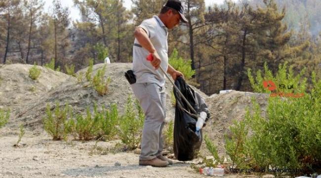 Yangına sebep olmasın diye çöpler toplanıyor