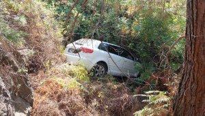Otomobil ormanlık alana yuvarlandı