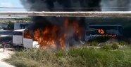 Antalya'da sıcak saatler! 4 otobüs alev alev yandı