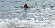 Dünyaca ünlü sahilde denize bir tek o girdi