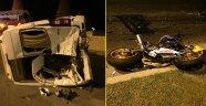 Motosiklet minibüse çarptı: 1 ölü, 2 yaralı