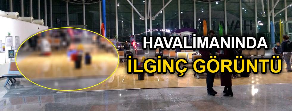 Havalimanı'nda ilginç görüntü