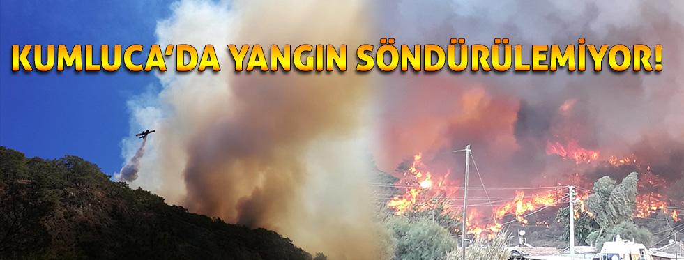 Kumluca'daki orman yangını söndürülemiyor
